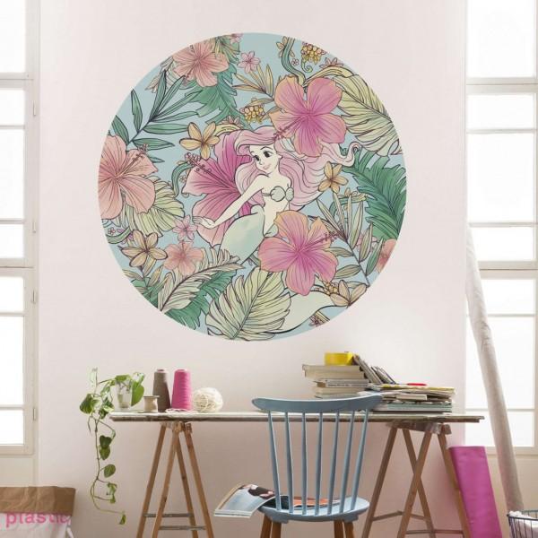 """Disney Wandsticker / Wandaufkleber Arielle, die Meerjungfrau """"Ariel Ocean Flowers"""" rund 125cm x 125cm"""