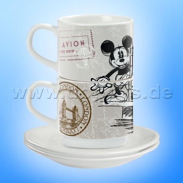 "Disney Espresso Tassen 2er Set Mickey Maus ""London"" stapelbar PWM02I/LO"