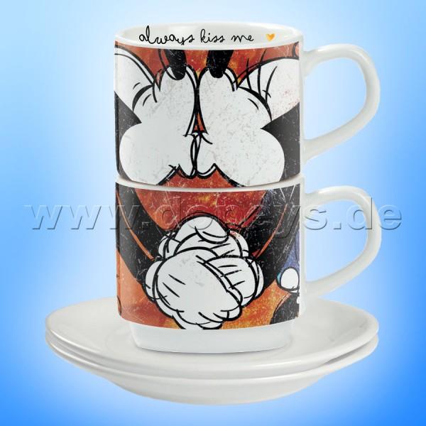 """Disney Espresso Tassen 2er Set Mickey & Minnie """"Rot"""" stapelbar, im italienischen Design"""