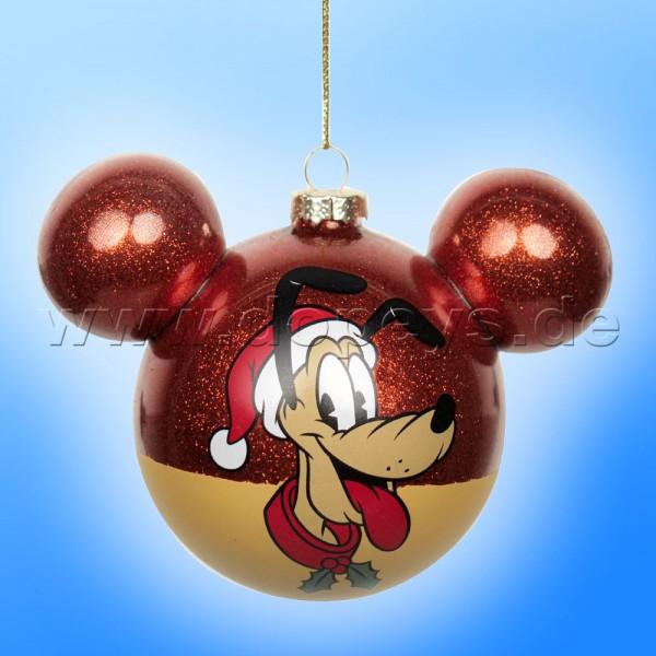 """Kurt S. Adler - Disney """"Pluto"""" Weihnachtsbaumkugel mit Mickey Maus Ohren / Glasornament in Rot DN37007"""
