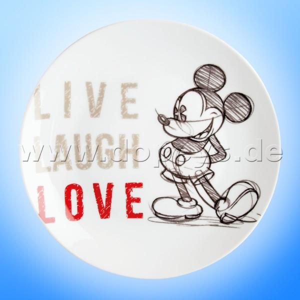 """Disney Teller / Servierteller / Kuchenplatte Mickey Maus """"Rot"""" Live Laugh Love im italienischen Design PWM37LL-5S"""