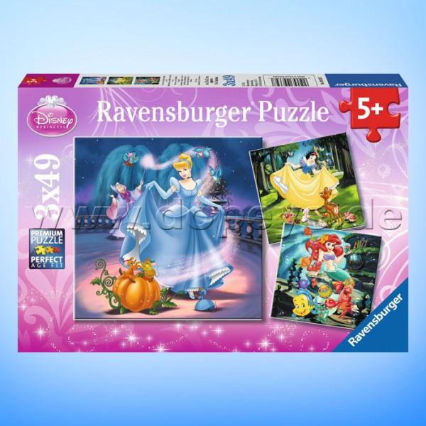 """Disney Puzzles Prinzessinnen """"Schneewittchen, Aschenputtel, Arielle"""" von Ravensburger 09339"""