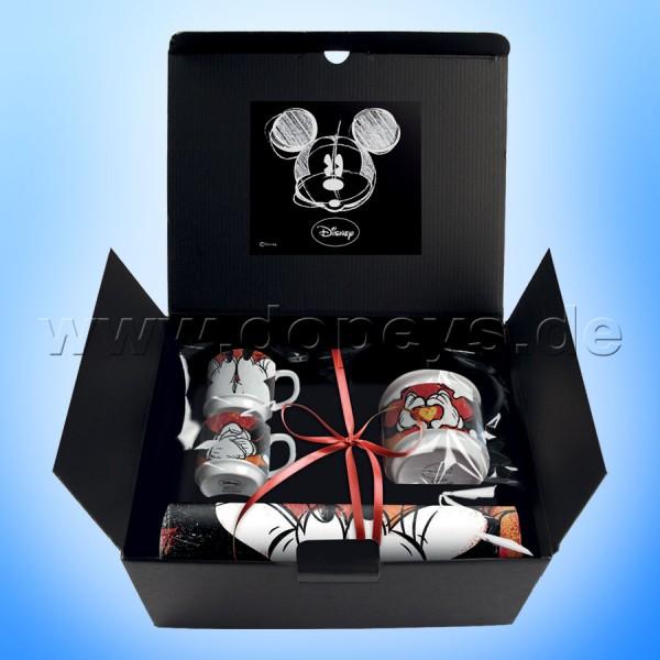 """Disney Geschenkset 2 Espressotassen + Zuckerdose + Platzdeckxhen Mickey & Minnie """"Rot"""", im italienischen Design"""