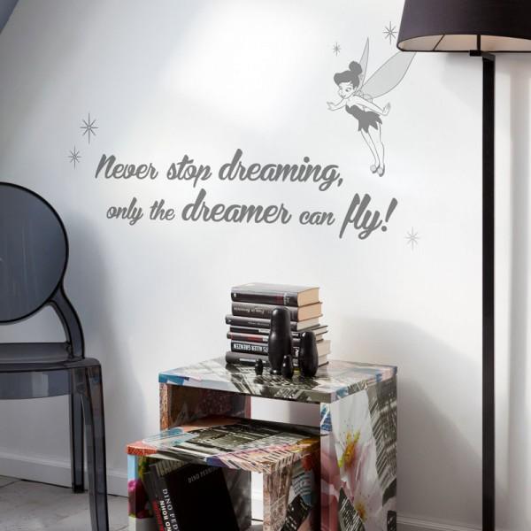 """Disney Wandsticker / Wandaufkleber Tinker Bell """"Never stop dreaming"""""""