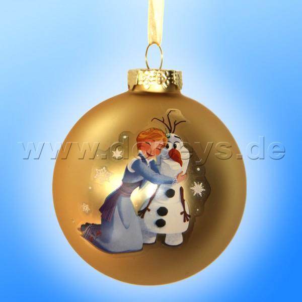 """Kurt S. Adler - Disney Die Eiskönigin """"Olaf & Anna's Umarmung"""" Weihnachtsbaumkugel / Glaskugel in Gold DN03005-B"""