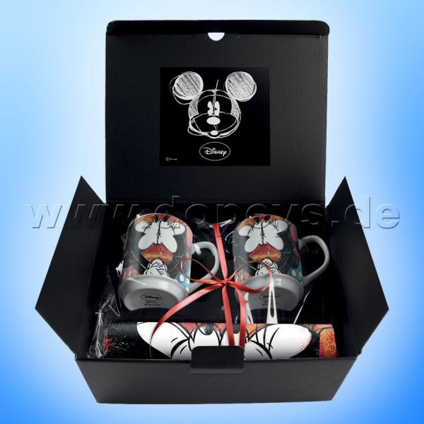 """Disney Geschenkset 2 Kaffeetassen + 2 Platzdeckchen Mickey & Minnie """"Rot"""" im italienischen Design"""