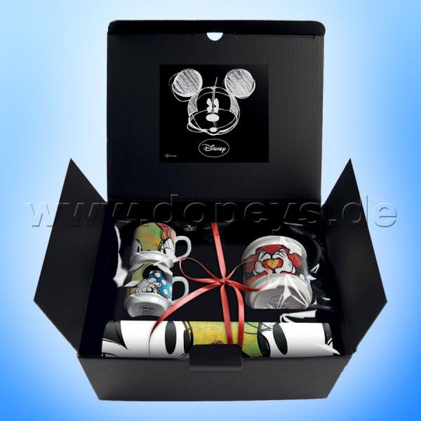 """Disney Geschenkset 2 Espressotassen + Zuckerdose + Platzdeckxhen Mickey & Minnie """"Grün"""", im italienischen Design"""