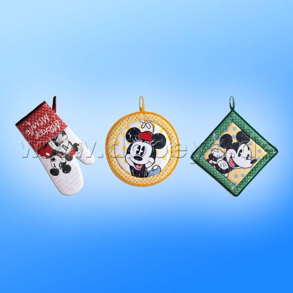 """Disney Set aus Ofenhandschuh und 2 Topflappen """"Mickey & Minnie"""" im italienischen Design"""