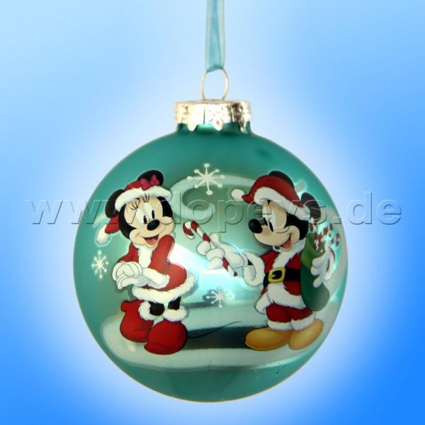 """Kurt S. Adler - Disney """"Mickey & Minnie mit Zuckerstangen"""" Weihnachtsbaumkugel / Glaskugel in Türkis DN02005-B"""