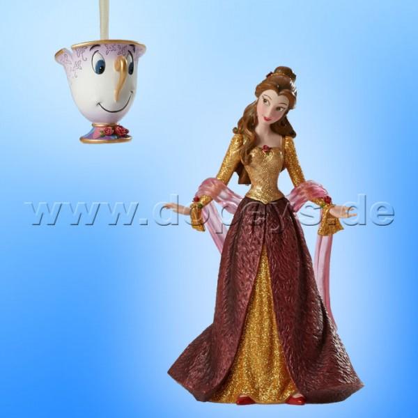 """Disney Showcase Collection von Enesco """"Weihnachts-Belle und Tassilo"""" Figur + Weihnachtsanhänger Set 4053349 Haute Couture"""