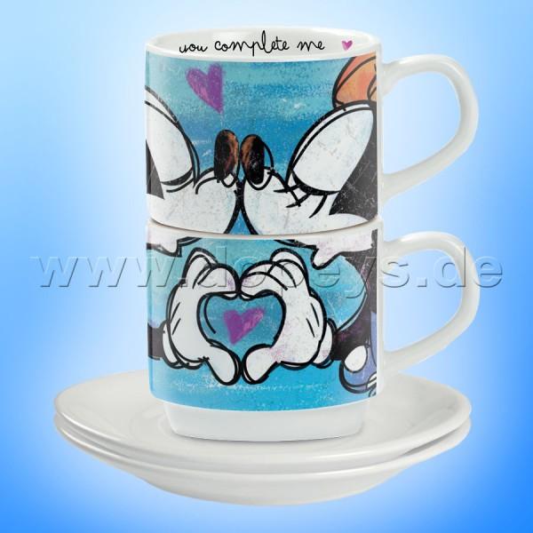 """Disney Espresso Tassen 2er Set Mickey & Minnie """"Blau"""" stapelbar, im italienischen Design"""