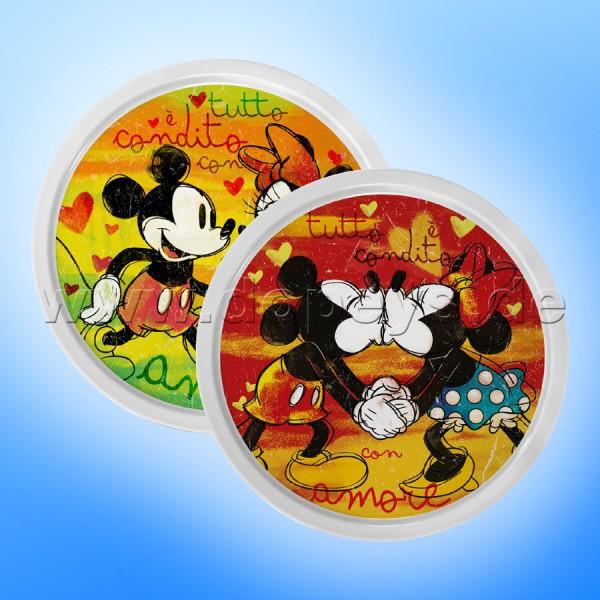 """Disney Pizzateller Mickey & Minnie """"Rot + Grün"""" 2 Stück im Set im italienischen Design PWM37T-2XLB"""