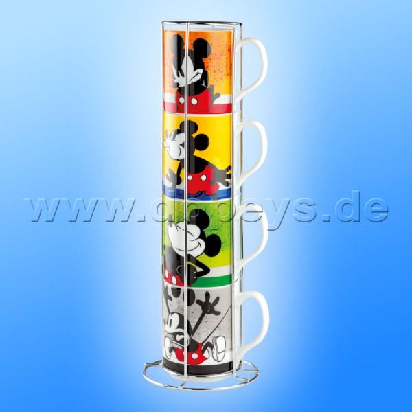"""Disney Tassen / Kaffeebecher """"Mickey I Am"""" stapelbar 4er Set + Metallgestell, im italienischen Design PWM21I-4AM, 35cl"""
