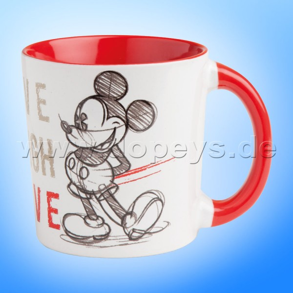 "Disney Kaffeetasse Mickey Maus ""Rot"" Live Laugh Love, 39 cl PWM21LL/1S"