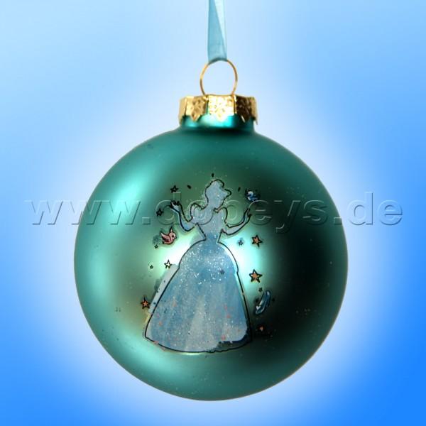 """Kurt S. Adler - Disney Prinzessin """"Cinderella Silhouette"""" Weihnachtsbaumkugel / Glaskugel in Türkis DN01006-A"""