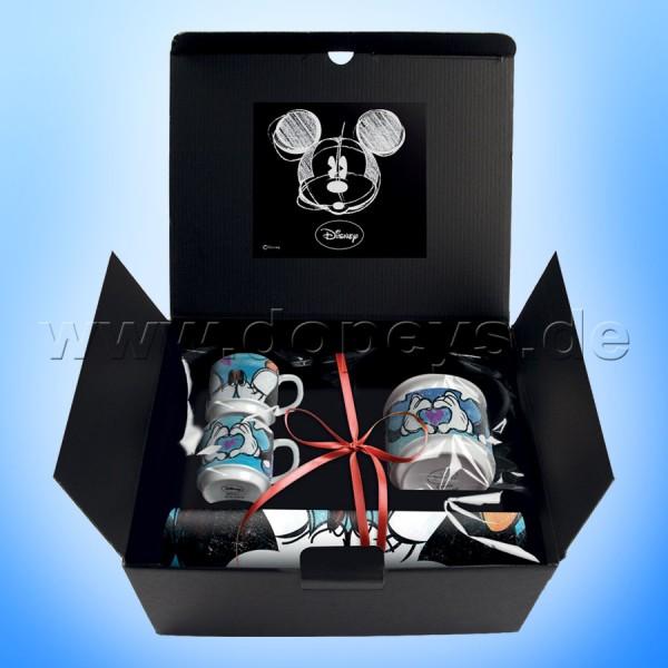"""Disney Geschenkset 2 Espressotassen + Zuckerdose + Platzdeckxhen Mickey & Minnie """"Blau"""", im italienischen Design"""