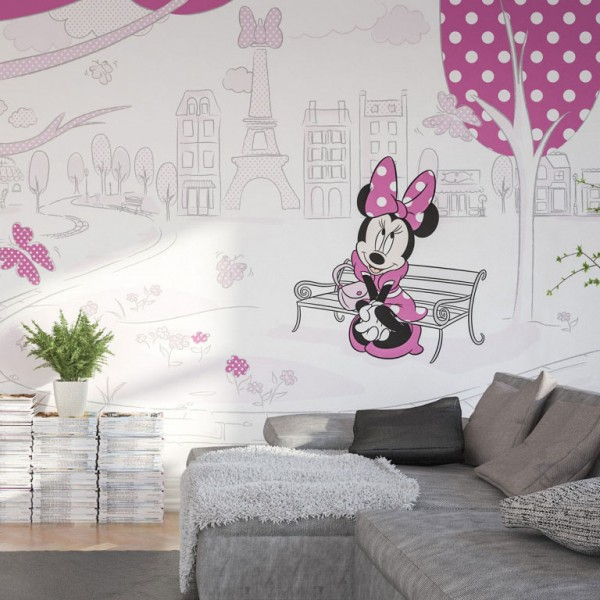 """Disney Vlies Fototapete Minnie Maus """"Minnie in Paris"""" 4,00m x 2,50m"""