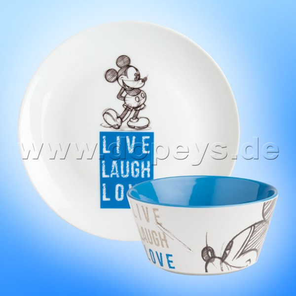 "Disney Geschenkset Mickey Frühstücksteller / Dessert-Teller + Müslischale ""Blau"" Live Laugh Love PWMSETLL-3"
