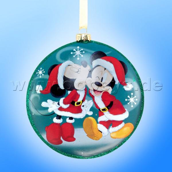 """Kurt S. Adler - Disney """"Mickey & Minnie's Kuss"""" Glas Disk Weihnachtsbaumkugel in Diskusform / Glasornament in Türkis DN02004-A"""