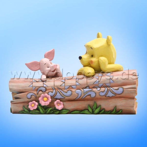 Truncated Conversation (Puuh und Ferkel an einem Holzstamm) Figur von Disney Traditions / Jim Shore - Enesco 6005964