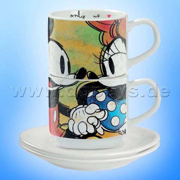 """Disney Espresso Tassen 2er Set Mickey & Minnie """"Grün"""" stapelbar, im italienischen Design"""