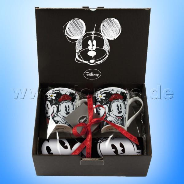 Disney Geschenkset 2 Kaffeetassen + Einkaufstasche Mickey & Minnie Maus im italienischen Design